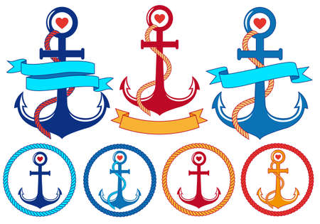 MARITIME: anchors with rope, ribbons and frames, set of vector design elements