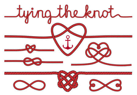 結び目: ロープの心の結婚式の招待状は、結び目を結ぶベクトル デザイン要素の設定  イラスト・ベクター素材