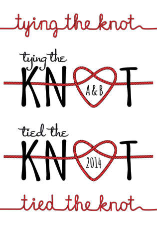 tying: tying the knot, rope heart for wedding invitation, set of vector design elements Illustration