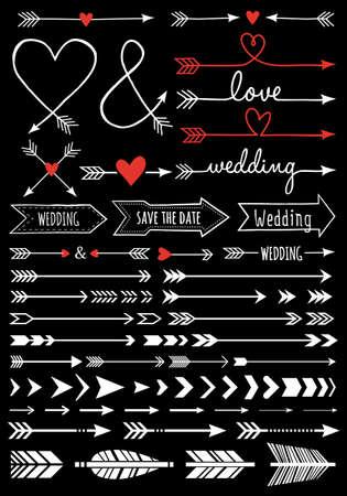 hand-drawn wedding arrows, set of vector design elements