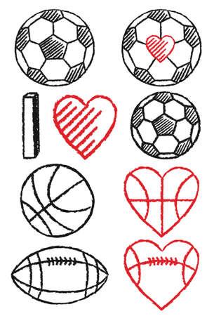 pelota rugby: fútbol dibujado a mano, el baloncesto, el fútbol y los corazones, elementos de diseño vectorial