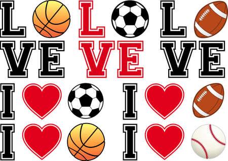 love sport, soccer ball, football, basketball, baseball, set of vector design elements Vector