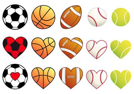 축구, 농구, 축구, 야구, 테니스 공 심장 세트 일러스트