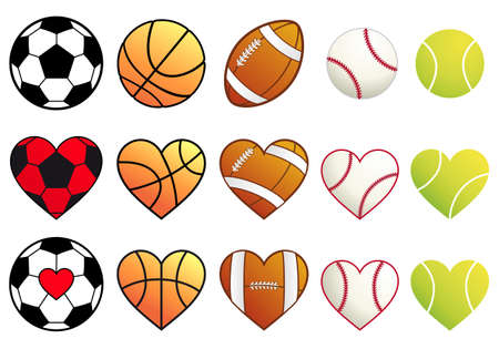 baseballs: football,basketball,soccer, baseball and tennis ball heart set