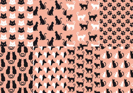 cat drawing: cat and dog seamless pattern, vector set Illustration
