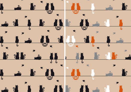 gray cat: cats sitting and watching birds, seamless pattern, vector set