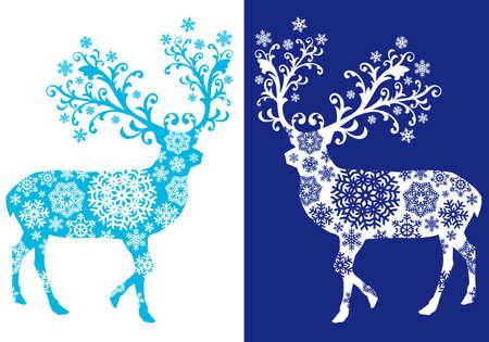 Blue Christmas reindeer  イラスト・ベクター素材