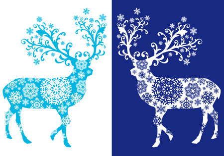 Blue Christmas reindeer Illustration