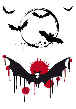 Halloween bats with moon and skull Vector