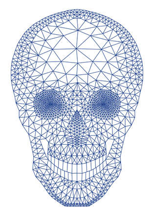 3d scary: human skull with geometric mesh pattern
