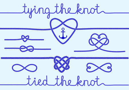 tying the knot, rope hearts for wedding invitation set of design elements Vectores