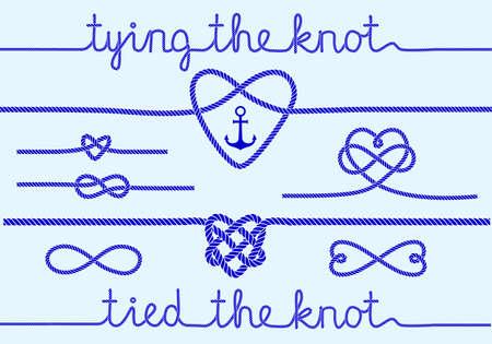 ancre marine: attacher le noeud, coeurs de corde pour invitation de mariage ensemble d'éléments de conception