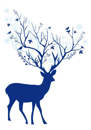 Blue Christmas deer with tree branch antlers, vector illustration Vector