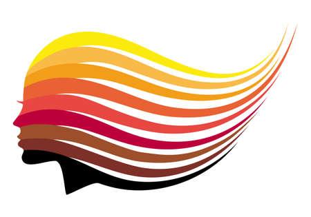 tinte cabello: Mujer con el pelo que fluye largo, todos los colores de pelo, ilustración vectorial