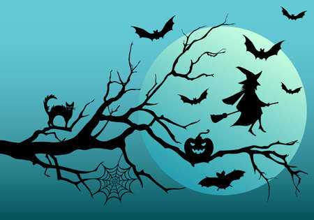 Halloween night, flying bats and witch, vector illustartion Vector