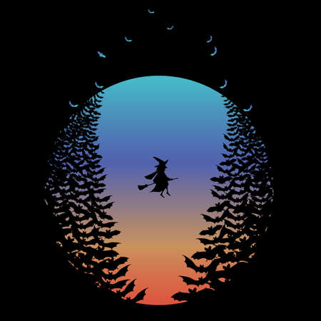 negative spaces: Halloween moon with flying witch and bats, negative space vector illustration