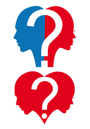 dating strategy: Man and woman with question mark and heart, vector illustration