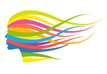 Žena s tekoucí vícebarevné dlouhé vlasy, vektorové ilustrace