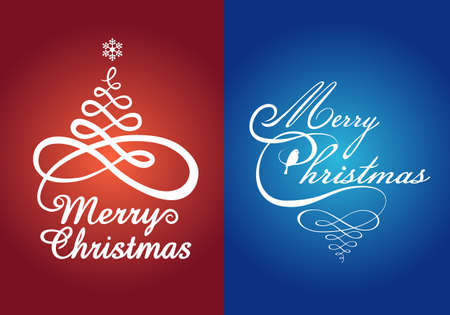 Red and blue Christmas cards with flourish trees, vector set Vector