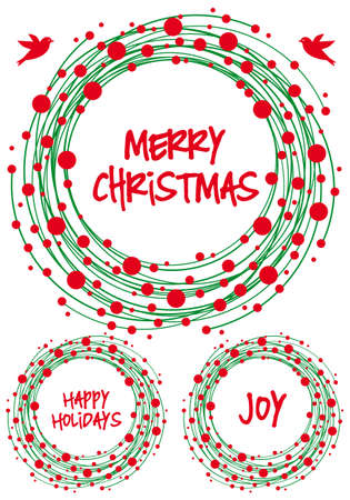 Abstract green Christmas wreath with red berry, vector set