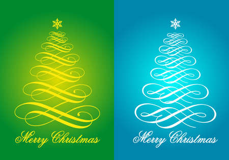 Blue and green Christmas cards with flourish Xmas trees, vector set Vector