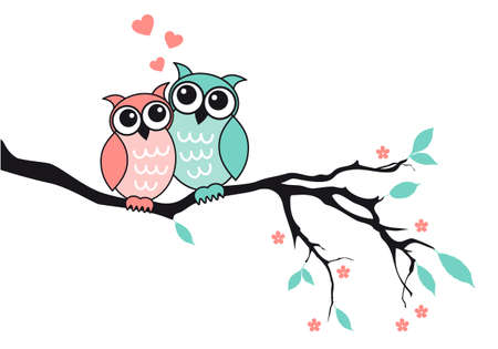 pink and black: Cute owl couple sitting on tree branch, vector illustration