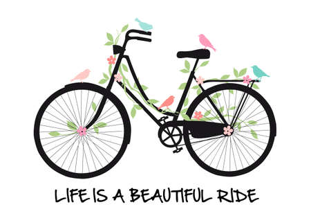 silueta ciclista: Bicicleta de la vendimia con los pájaros y las flores, la vida es un paseo hermoso, ilustración vectorial