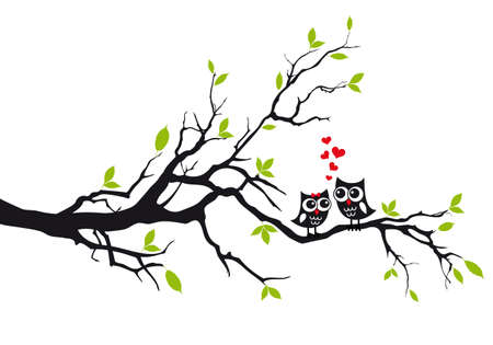 Cute owls in love sitting on green tree, vector illustration Ilustração