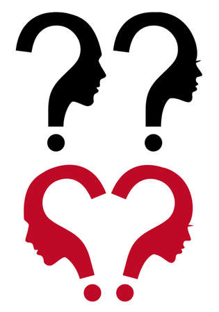 dating strategy: Woman and man faces with question mark, vector illustration Illustration