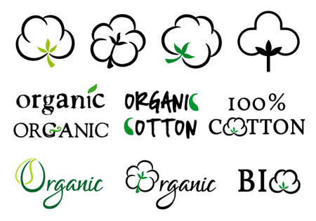 Organic cotton symbols Vector