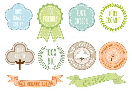 organic cotton: organic cotton symbols Illustration