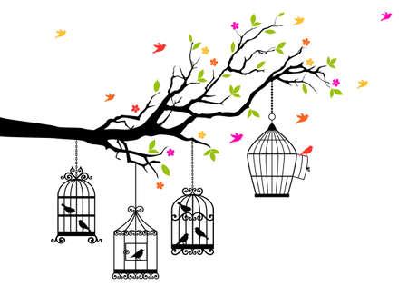 ¡rboles con pajaros: la libertad, la rama de un árbol con los pájaros y jaula abierta, ilustración vectorial