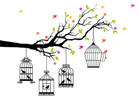 freedom, tree branch with birds and open birdcage, vector illustration Stock Illustratie