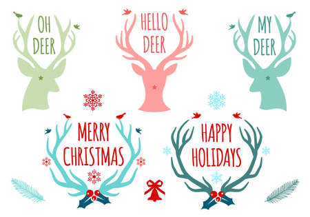 antlers: merry christmas with deer heads and antlers, set of vector design elements Illustration