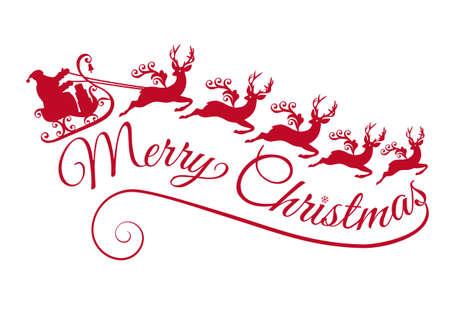 Frohe Weihnachten, Weihnachtsmann mit seinem Schlitten und Rentiere, Vektor-Illustration
