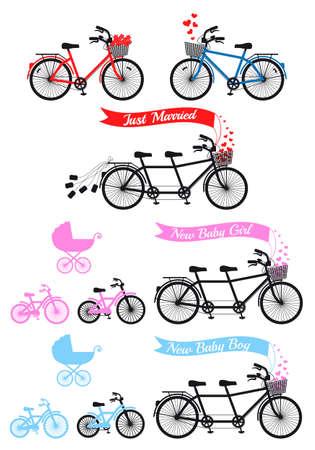 bicicleta vector: Baby shower con bicicleta tándem y bicicleta de los niños y con errores, conjunto de vectores Vectores