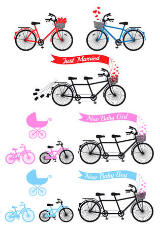 Baby shower with tandem bicycle and childrens bike and buggy, vector set