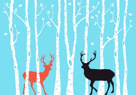 venado: Reno con bosques de �rboles de abedul, tarjeta de Navidad, vector