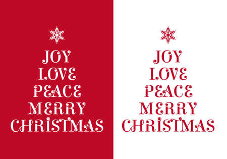 Christmas cards with typographic tree, vector Vector