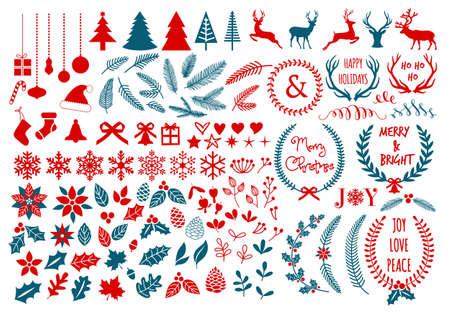 큰 크리스마스 꽃, 월계관, 눈송이와 뿔, 벡터 디자인 요소 설정