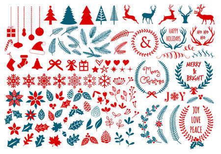Big Christmas set with flowers, laurel wreath, snowflakes and antlers, vector design elements