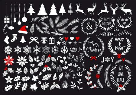 White Christmas, big set of graphic design elements  イラスト・ベクター素材