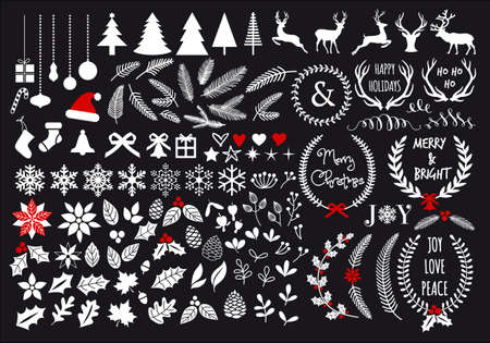 White Christmas, big set of graphic design elements 일러스트
