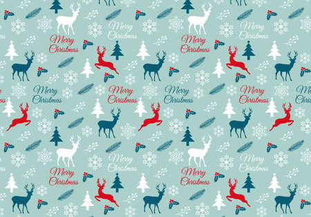 Seamless Christmas pattern with reindeer, snowflake and trees, vector, digital wrapping paper Vector