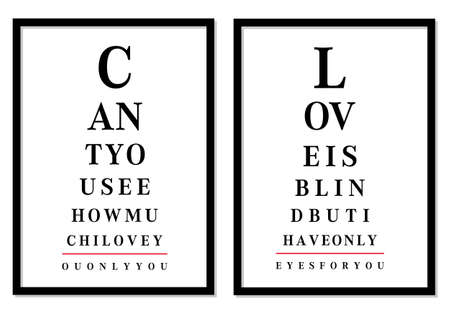 eye exams: eye chart pictures with love messages, vector