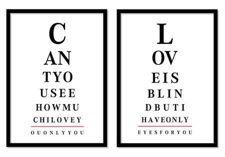 examen de la vista: fotos tabla ocular con mensajes de amor, vector Vectores