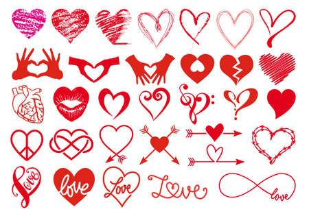 scribble: Heart, love, Valentines day, big set of vector graphic design elements