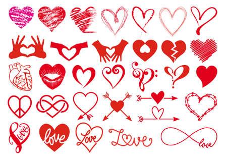 ślub: Serce, miłość, walentynki, duży zestaw elementów projektu Vector Graphic
