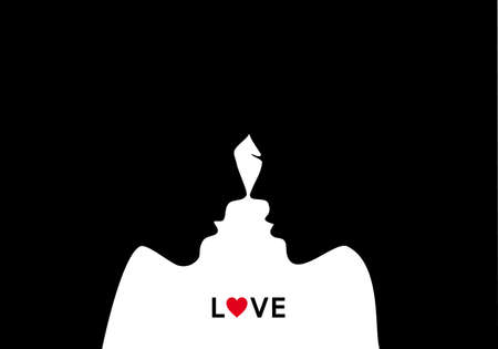 kissing lips: Kissing couple, man and woman in love, vector illustration