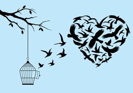 pássaros que voam em forma de coração com gaiola e árvore, ilustração vetorial